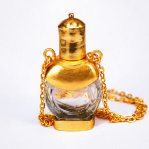 Perfume round bottle with chain necklace | ALMAH Scented Jewelry